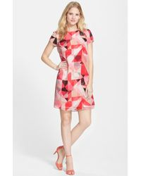 Vince Camuto Petite Women'S Short Sleeve Shift Dress - Lyst