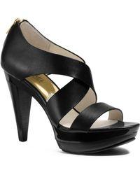 Michael Kors Elena Leather Platform Sandal - Lyst