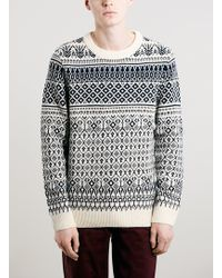 Topman Selected Homme Navy Blue and White Patterned Jumper - Lyst