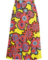 House of Holland Floral-Print Crepe Skirt - Lyst