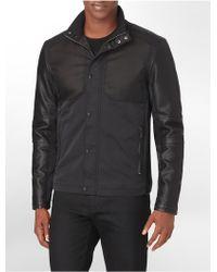 Calvin Klein White Label Faux Leather Accent Mock Neck Jacket - Lyst