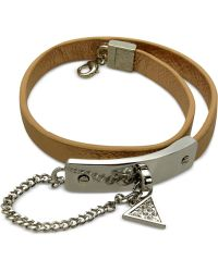Guess Rhodium-tone Faux-leather Wrap Bracelet - Lyst