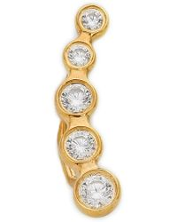 Jacquie Aiche Descending Right Ear Crawler - Clear/Gold - Lyst