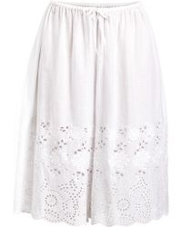 Suno | White Cotton Eyelet Detail Culottes | Lyst