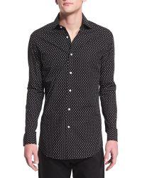 Pink Pony Dot-print Long-sleeve Sport Shirt - Black
