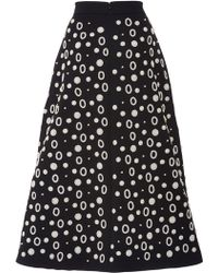Osman Yousefzada Techno Cotton Midi Skirt in Black and White - Lyst