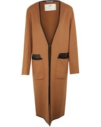 Day Birger Et Mikkelsen Camel Briony Leather Trim Cardigan Coat - Lyst