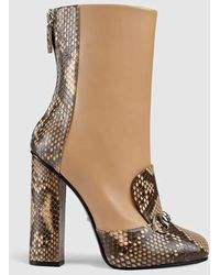 Gucci Python And Leather Ankle Boot - Multicolor