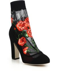 Dolce & Gabbana Embroidered Mesh & Suede Booties - Lyst