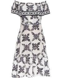 Easton Pearson Take Away Aloha Frond-print Silk Dress - Blue