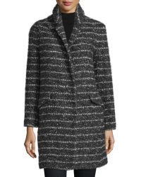 Vera Wang - Stand-collar Striped Coat - Lyst