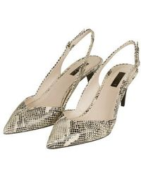 Topshop Jacobine Snake-Effect Slingback Shoes black - Lyst