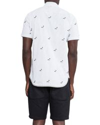 Staple All Over Pigeon Button Down - White