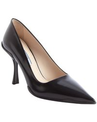 Prada Black Pointed Toe Spazzol Leather Pumps - Lyst