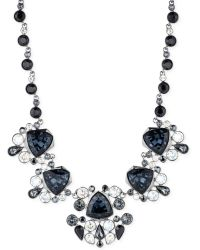 Givenchy Hematite-tone Gray Crystal Frontal Necklace - Lyst