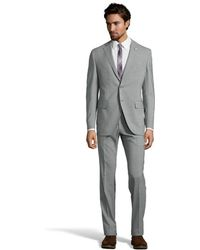 Lubiam Grey Wool 2-Button Suit With Pleated Pants - Lyst