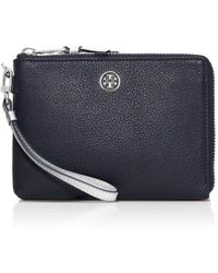 Tory Burch Robinson Pebbled Large Wristlet - Lyst