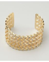 Joanna Laura Constantine - Gold and Crystal Zigzag Flexible Cuff - Lyst