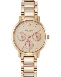 Kate Spade Grand Multifunction Rose Gold Watch Rose Gold - Lyst