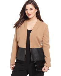 Jones New York Collection Plus Size Fauxleathertrim Jacket - Lyst