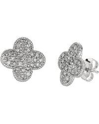 Morris & David - 0.74 Ct T W Diamond Clover Earrings In 14 Kt White Gold - Lyst