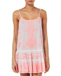 Juliet Dunn - Coral Embroidered Cami Dress - Lyst