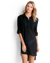 Seafolly - Crinkle Twill Beach Shirt Black - Lyst