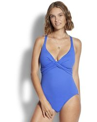 Seafolly Wrap Front Swimsuit Blue