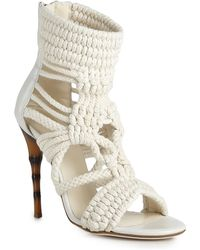 Balmain Braided Cotton and Leather Sandal - Lyst