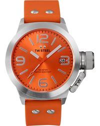 Tw Steel Unisex Canteen Orange Silicone Strap Watch 45mm Tw530 - Lyst