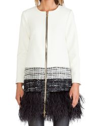 Milly Feather Trim Jacket - Lyst