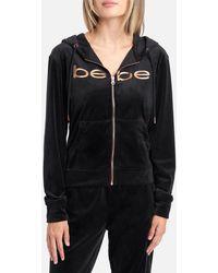 Bebe Logo Velour Hoodie Jacket - Black