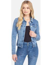 Bebe Quilted Stitch Denim Jacket - Blue