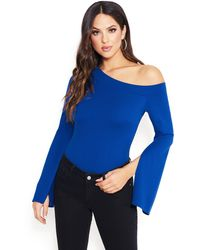 Bebe Slit Bell Sleeve Top - Blue