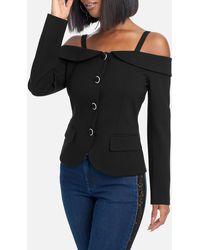 Bebe Off Shoulder Button Up Blazer Jacket - Black