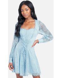 Bebe Lace Corset Detail Dress - Blue
