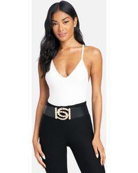 Bebe Faux Pearl Large Logo Stretch Belt - Black