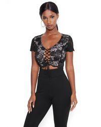 Bebe Lace Tie Front Crop Top - Black