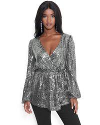 Bebe Sequin Wrap Tunic - Metallic
