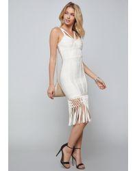 Bebe - Fringe Bandage Dress - Lyst