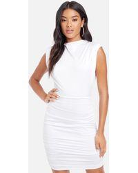 Bebe Sleeveless Ruched Mock Neck Dress - White