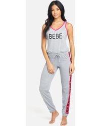 Bebe Logo Contrast Pant Set - Grey