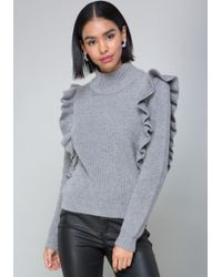 Bebe - Ruffled Turtleneck Sweater - Lyst