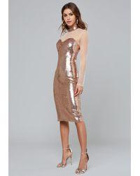 Bebe Rose Gold Sequin Midi Dress - Metallic