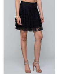 Bebe - Tiered Lace Skirt - Lyst