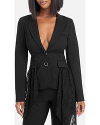 Bebe Lace Drape Detail Blazer Jacket - Black