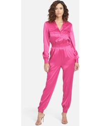 Bebe Long Sleeve Charmeuse Jumpsuit - Pink
