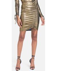 Bebe Foil Knit Tunnel Detail Skirt - Metallic