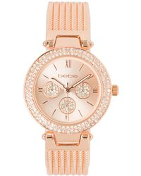 Bebe Rose Gold And Crystal Watch - Metallic