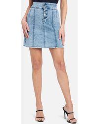 Bebe Exposed Button Stitch Detail Denim Skirt - Blue